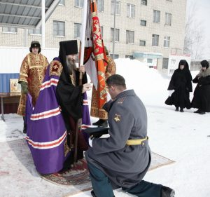 Освящение полкового знамени воинской части в с. Новосысоевка. 10 марта 2015 года